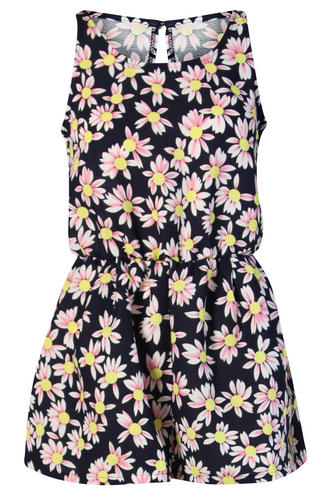 View Item Pink and Navy Daisy Print Playsuit