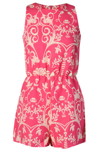 View Item Pink Baroque Print Playsuit