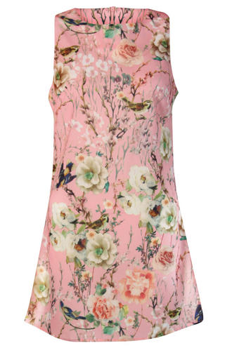 View Item Bird and Floral Print Shift Dress