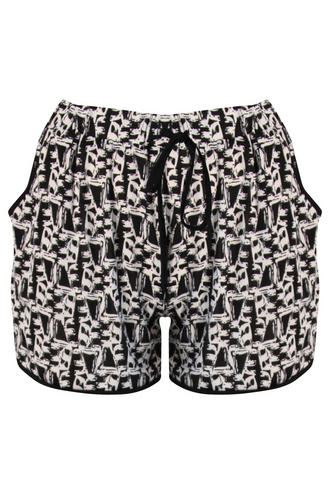 View Item Black and White Print Jogger Shorts