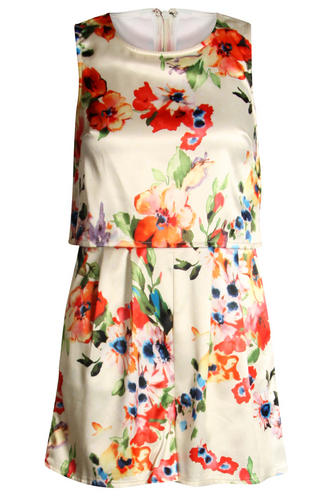 View Item Satin Floral Layered Playsuit