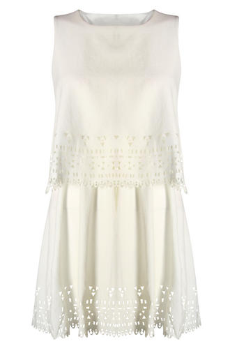 View Item Aztec Laser Cut Cream Layered Dress