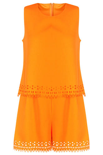 View Item Orange Aztec Laser Cut Layered Playsuit