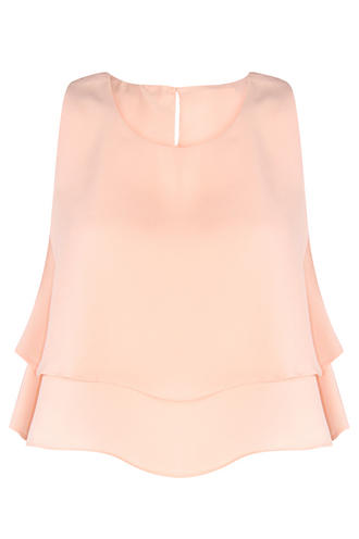 View Item Double Layered Pale Pink Crop Top