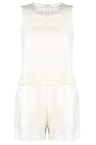 View Item Cream Aztec Laser Cut Layered Playsuit