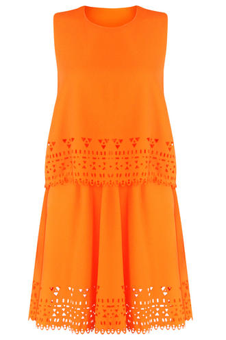 View Item Aztec Laser Cut Orange Layered Dress