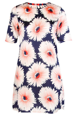 View Item Navy Shift Dress with Large Floral Print