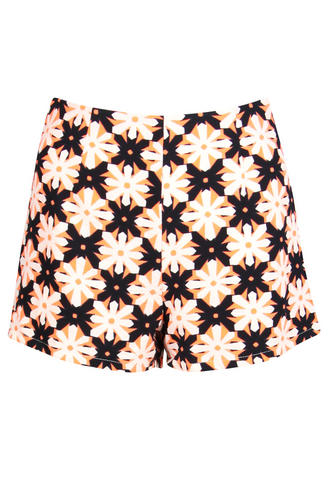 View Item Neon Orange Geometric Floral Print Shorts