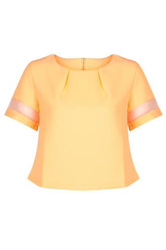 View Item Neon Orange Mesh Sleeve Top