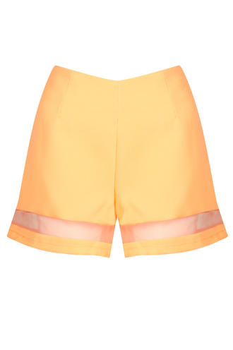 View Item Neon Orange Mesh Hem Shorts