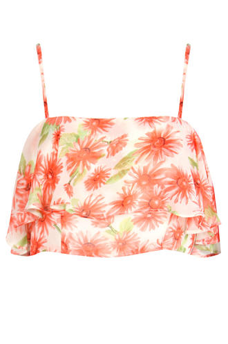 View Item Pink Floral Print Layered Crop Top
