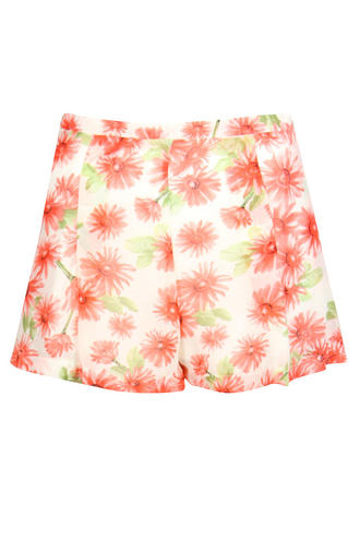 View Item Pink Floral High Waisted Pleated Shorts