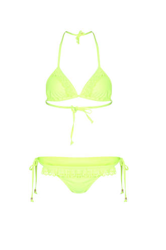 View Item Neon Green Laser Cut Frill Bikini