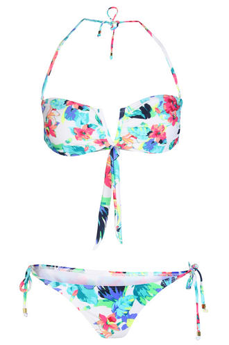View Item Neon Tropical Flower V Notch Bandeau Bikini