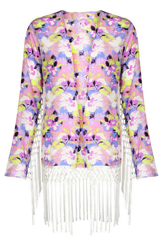View Item Purple Floral Long Sleeved Fringed Kimono