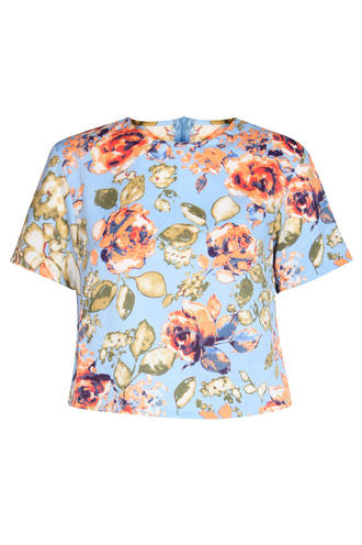 View Item Orange and Green Rose Printed Top
