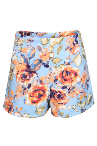 View Item Orange and Green Rose Printed Shorts