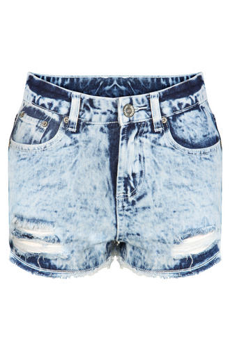 View Item Acid Wash Distressed Denim High Waisted Shorts