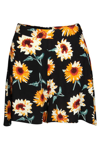View Item Sunflower Print High Waisted Shorts