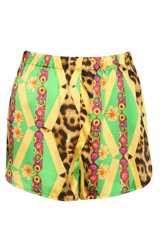 View Item Tribal Print High Waisted Runner Shorts