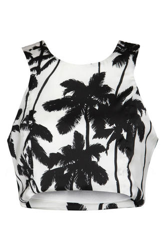 View Item White Palm Tree Print Crop Top