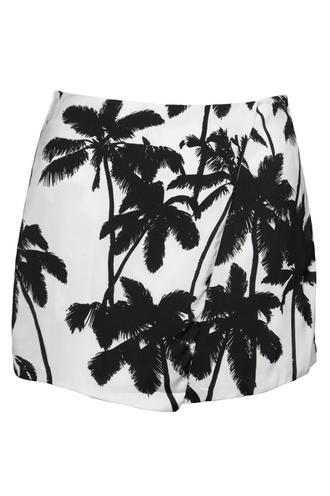 View Item White Palm Tree Print Skorts