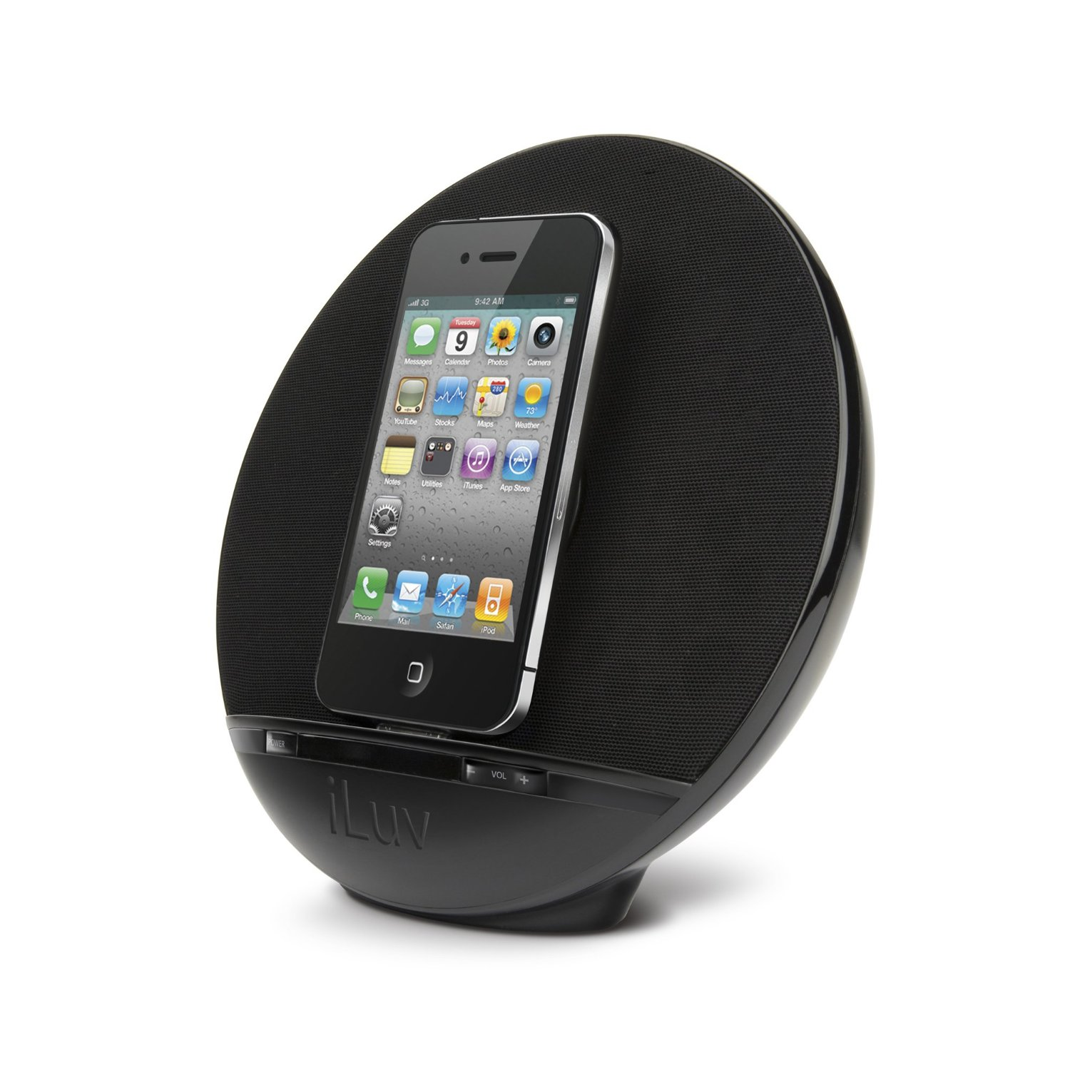 imm289blk iluv stereo speaker iphone ipod dock black. Black Bedroom Furniture Sets. Home Design Ideas