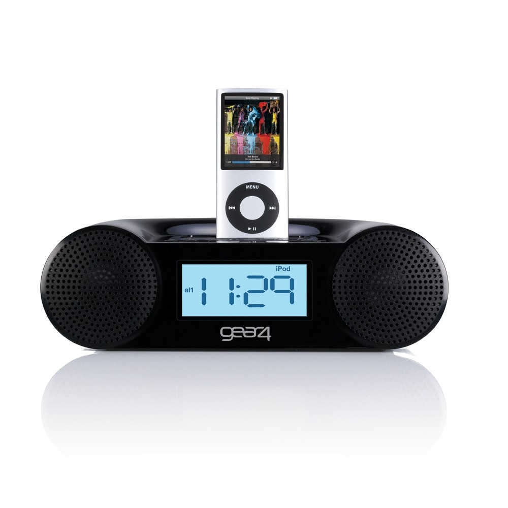 gear 4 ipod dock pg434 b alarm clock radio fm am for ipod 39 s black ebay. Black Bedroom Furniture Sets. Home Design Ideas