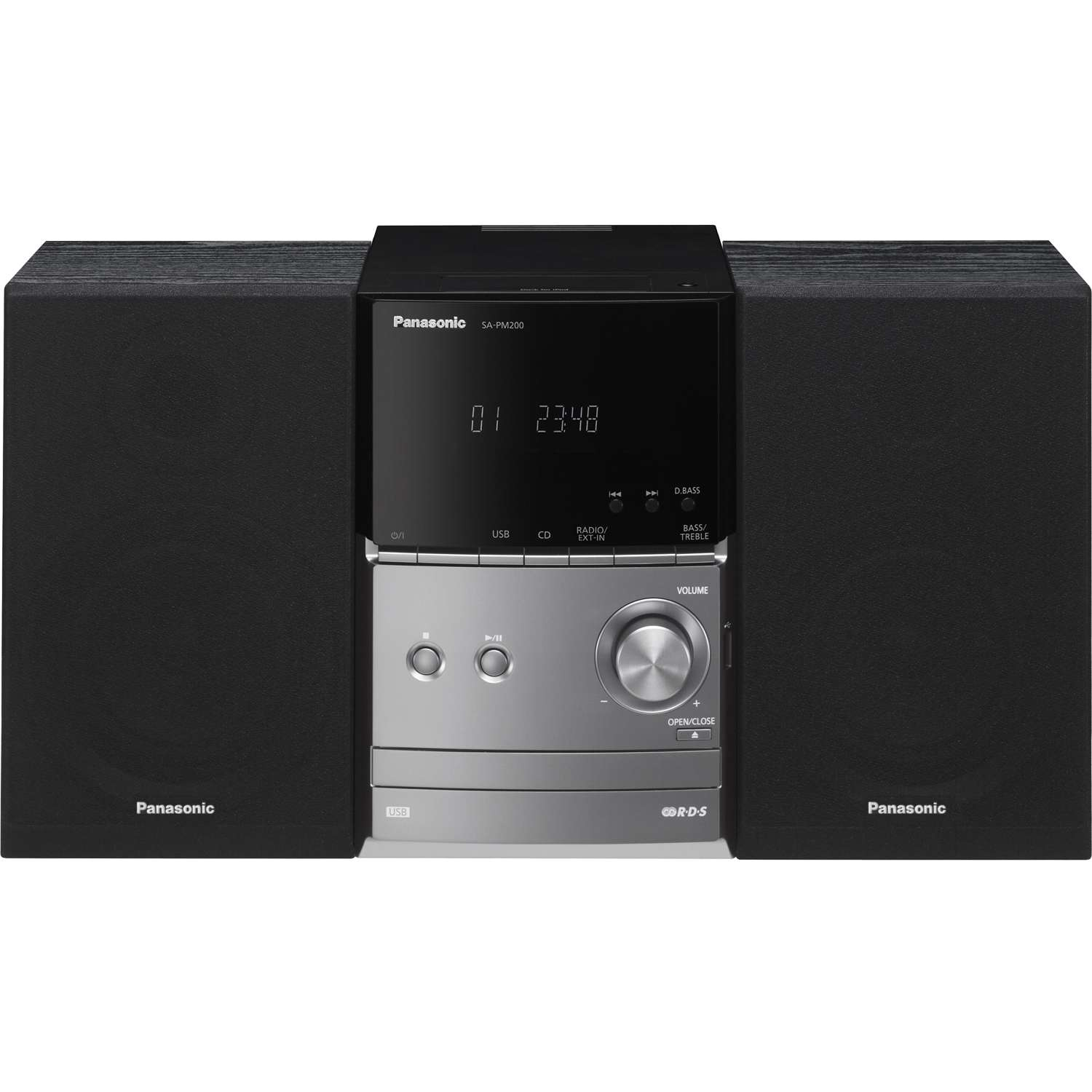 panasonic sc pm200eb s 20w micro system cd player with fm. Black Bedroom Furniture Sets. Home Design Ideas