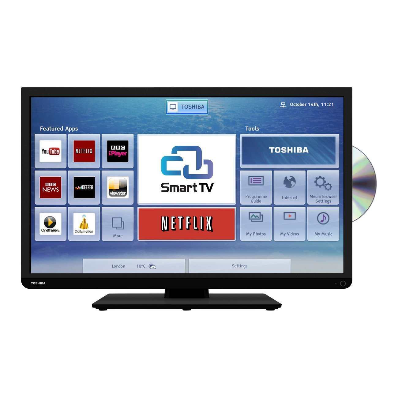 toshiba 32d3453 32 hd ready smart led tv dvd combi with freeview hd 5900496529809 ebay. Black Bedroom Furniture Sets. Home Design Ideas
