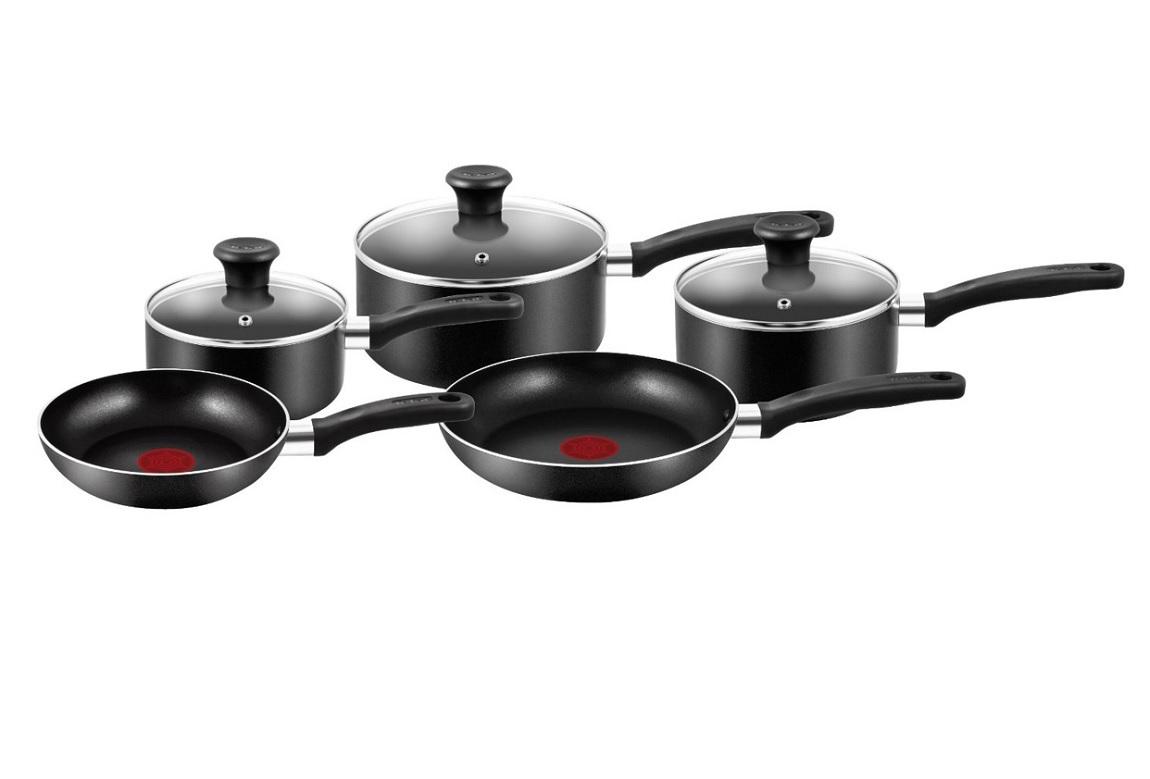 tefal non stick 5 piece pans set 3 saucepans 2 frying pans. Black Bedroom Furniture Sets. Home Design Ideas