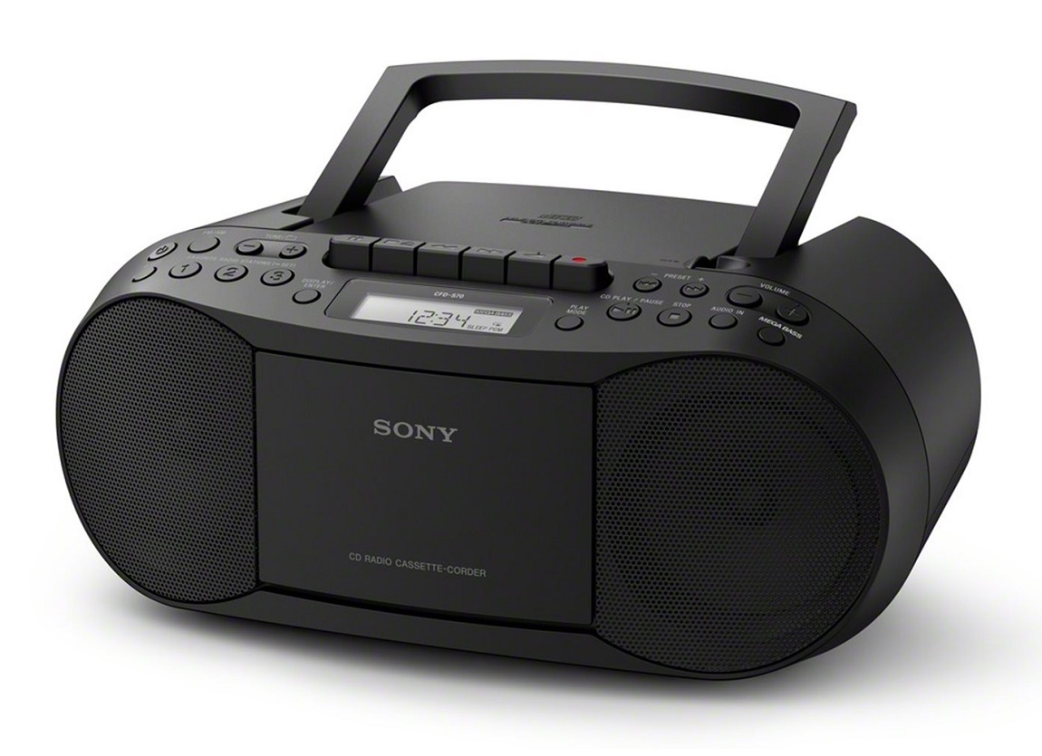 sony cfd s70 classic boombox built in cd cassette player am fm radio black ebay. Black Bedroom Furniture Sets. Home Design Ideas