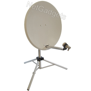 80cm Portable White Satellite Dish Kit Caravan/Camping Enlarged Preview