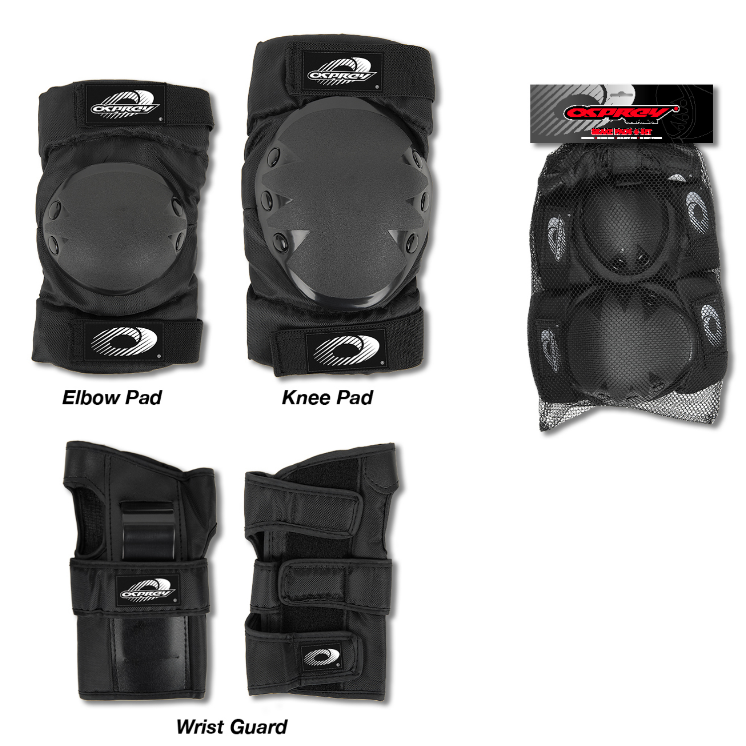 Osprey 6 piece Skate Pad Set knee elbow wrist for skateboard, inline skates etc Enlarged Preview