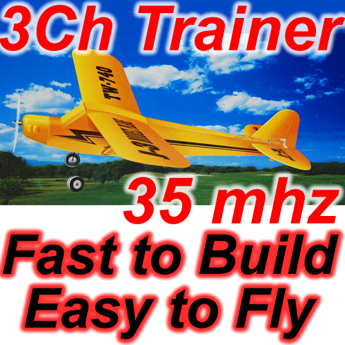 NEW J3 Cub Aeroplane Airplane RC Trainer Plane 3 Channels Remote Control Enlarged Preview