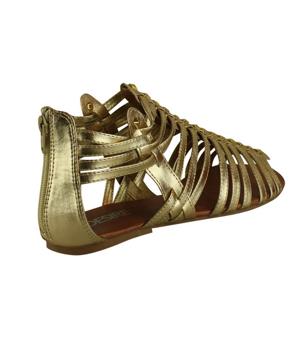 gold strappy sandals. Gold Strappy Studded Front