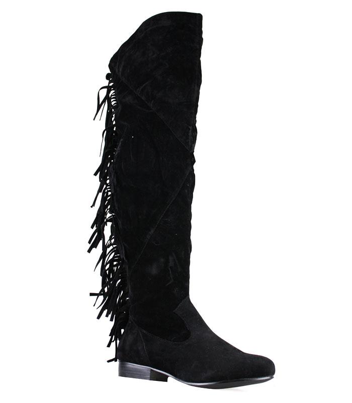 new black vv suede fringe back the knee boots ebay