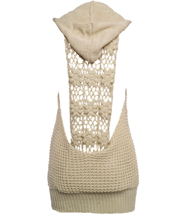 Beige Hooded Crochet Detail Knitwear - Knitwear - desireclothing.co.uk