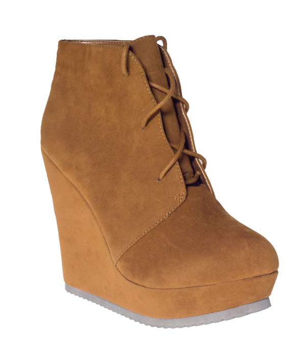 new rust brown suede lace detail wedge lace ups