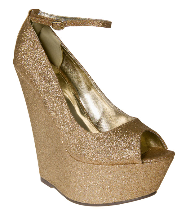 Ladies-New-Gold-Glitter-Peep-Toe-Ankle-Straps-Wedges-Shoes