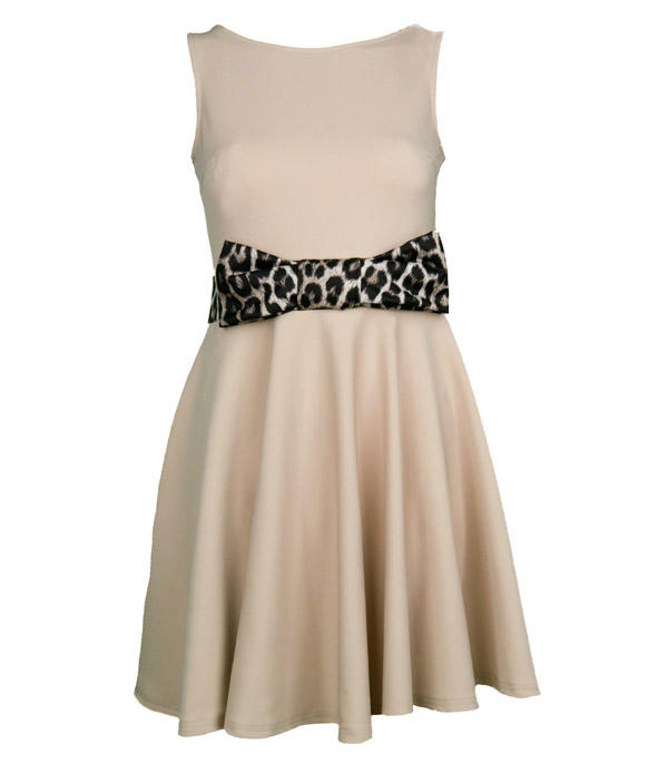Nude Skater Dress With Bow Waist Detail Thumbnail 1 ...