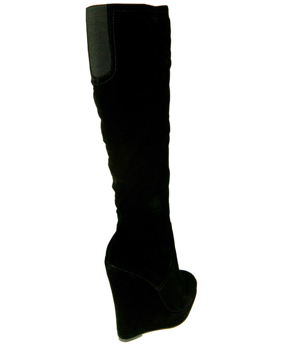 womens new black suede wedge knee high boots size 3