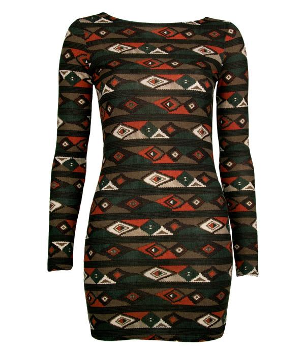 Womens-New-Green-Aztec-Print-Ladies-Bodycon-Dress