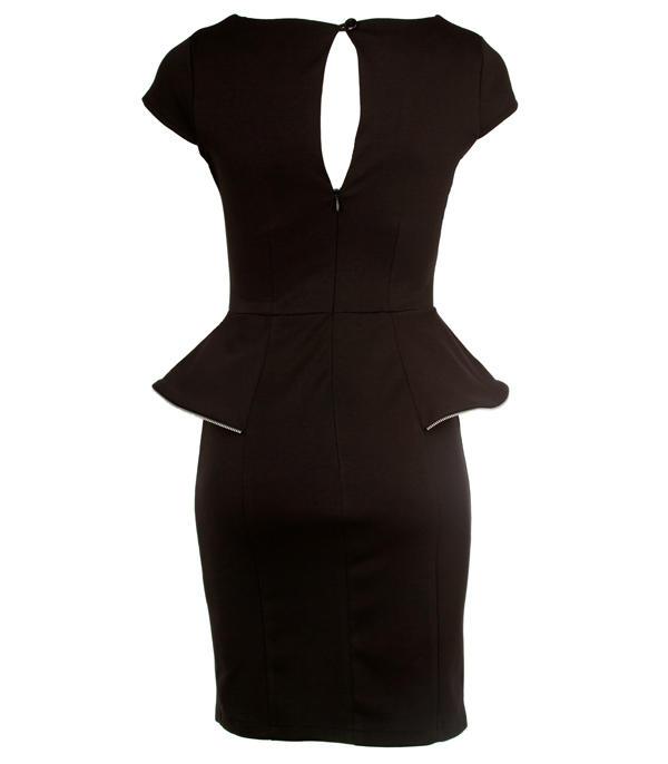 black peplum dress on Black Zip Detail Peplum Dress   Clothing   Desireclothing Co Uk