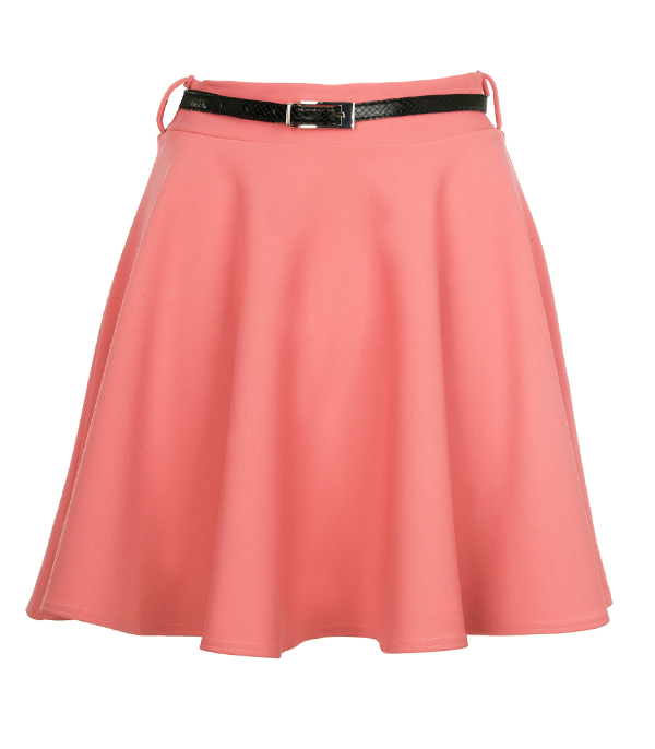new womens coral high waisted skater skirt size 8
