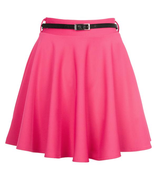 new womens pink high waisted skater skirt size 8 14