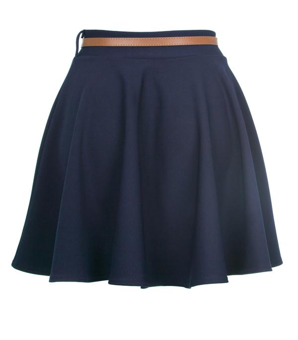 New-Womens-Ladies-Navy-High-Waisted-Skater-Skirt-Size-8-14
