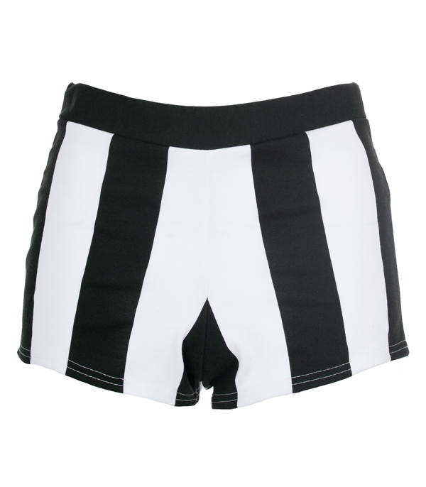 NEW WOMENS LADIES BLACK WHITE VERTICAL STRIPED SHORTS HOT PANTS SIZE 8,10,12,14 Enlarged Preview