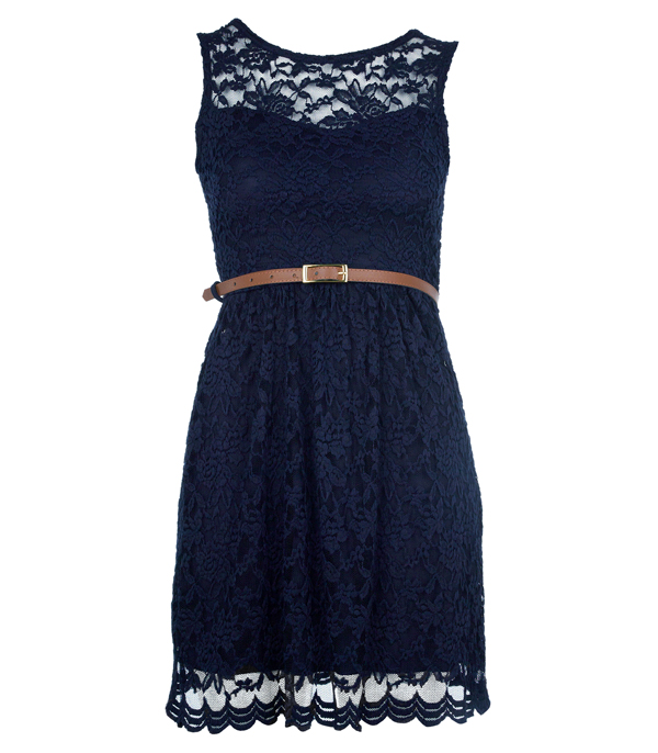 New Womens Navy Sweetheart Lace Belted Shift Ladies Formal Party Dress