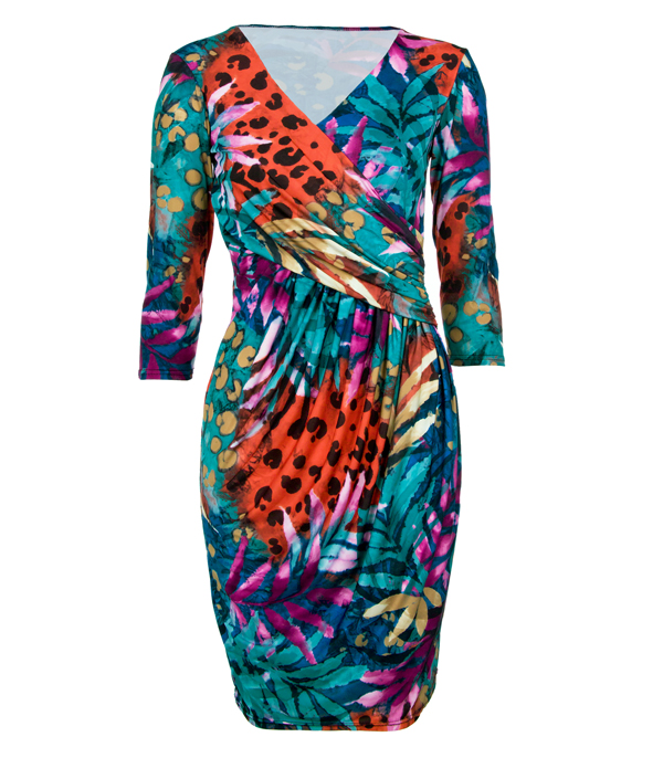 Womens New Ladies Teal Tropical Print Party Wrap Dress 8 10 12 14 Enlarged Preview